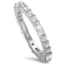 3mm Eternity Wedding Engagement Band Ring Baguette 3 Clear CZ Sterling Silver