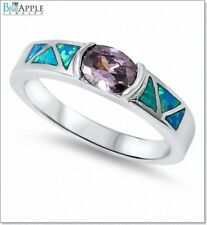 5mm Solitaire Wedding Engagement Ring 925 Sterling Silver Blue Lab Opal Amethyst