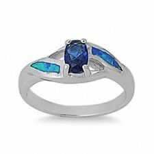 6mm Solitaire Wedding Engagement Ring 925 Sterling Silver Blue Sapphire CZ