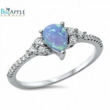 Solitaire Dazzling Wedding Engagement Ring 925 Sterling Silver Lab Opal CZ