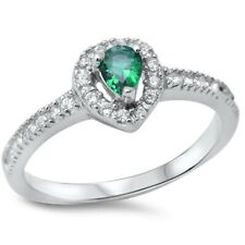 Halo Wedding Engagement Ring 925 Sterling Silver 0.25Ct Emerald Green Russian CZ