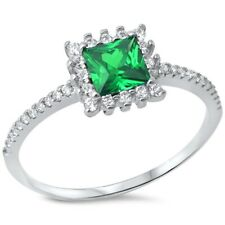Halo Wedding Engagement Ring 925 Sterling Silver 0.50CT Emerald Green Russian CZ