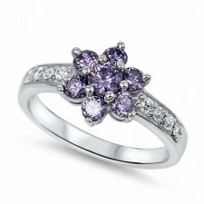 Cute Cluster Ladies Flower Ring 925 Sterling Silver 1.50Ct Amethyst Russian CZ