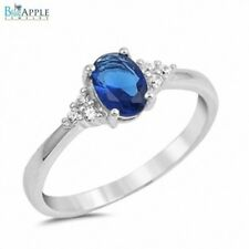 6mm Wedding Engagement Ring Solid 925 Sterling Silver Blue Sapphire Russian CZ