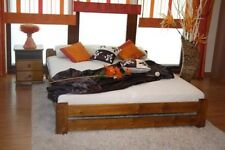 Double bed 4ft6 or 4ft Solid Pine Wooden bed frame in Oak colour with Mattress