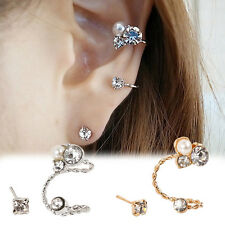 1 PC Gold/Silver Plated Pearl Rhinestone Ear Clip Crystal Ear Stud Earring Gift