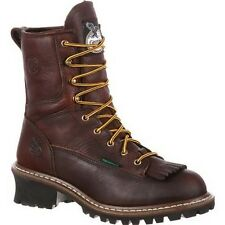 "New Mens Georgia 8"" Steel Toe Waterproof Logger Work Safety Boot Size 7-15 G7313"