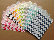 25 Colored Favor Food Oil Paper Party Bags Chevron Striped Craft Bag For Party