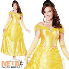 Deluxe Beauty Belle Ladies Fancy Dress Fairytale Princess Womens Adult Costume