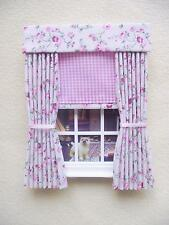 MINIATURE DOLLS HOUSE 12TH SCALE  CURTAINS DRAPES WITH BLIND various sizes