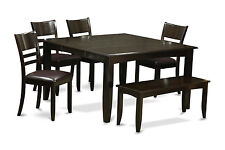 6 Piece dining set with bench-Dining Table With Leaf and 4 Dinette Chair Plus Be