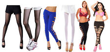 slash hole leggings and tight look leggings in white, black and blue colour