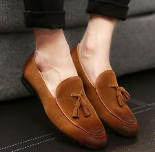 Mens slip on oxford pointy toe tassel casual shoes suede loafer moccasin gommino