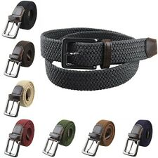 Womens Mens PU Leather Stretchy Elastic Weave Cross Buckle Casual Belt Waistband