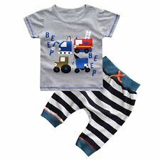 Newborn Toddler Kids Baby Boy Outfits Clothes T-shirt Top+Striped Pants 2PCS Set