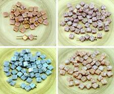 30pcs Picasso Flat Square Silky Two Hole Czech Glass Beads 6mm x 6mm