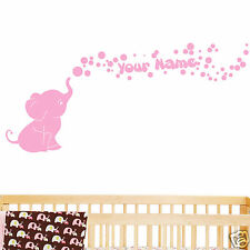Personalized Name with Elephant Bubbles Baby Wall Decal Viny Nursery Room Decor