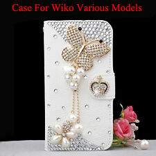 Bling DIY Diamonds butterfly Leather magnetic flip wallet case cover For wiko