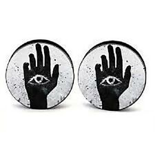 Khamsa Screw-on Stash Box Plugs / Gauges Acrylic (2 Pieces)