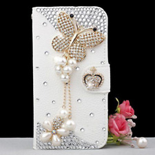 Bling Diamonds Pearls Butterfly Leather Card Wallet Case Stand Cover For iphone