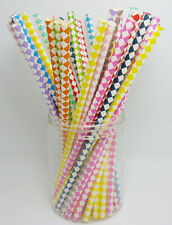 25 pcs Colored Paper Drinking Straws Diamond Pattern Drinking Straws For Party
