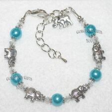 Turquoise Glass Pearl Lucky Elephant Beaded Crystal Charm Bracelet Birthday Gift