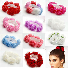 New Women Flower Headwear Garland Headband Bridal Scrunchie Elastic Hair Band