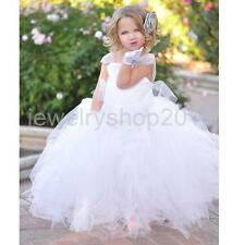 Vintage Lace Flower Girl Dress Gown Princess Wedding Special Occasion Party
