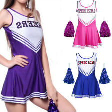 Cheerleader Sports Uniform School Girl Women's Fancy Dress Costume Outfit