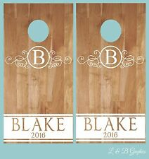 Cornhole Decals- Circle Monogram and Name-Wedding Cornhole-Anniversary-Birthday