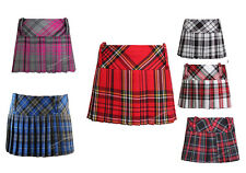 "LADIES FULL PLEATED 9""  TARTAN SKIRT MICRO FULL SHORT MINI HIPSTER SKATER SKIRT"