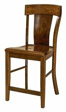 """Set (3) Amish Lacombe 24"""" Stationary Counter Height Bar Stools Solid Wood"""