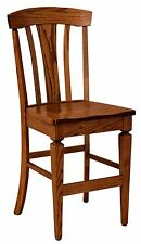 """Set (3) Amish Lexington 24"""" Stationary Counter Height Bar Stools Solid Wood"""