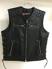 Mens Black Leather Zipper Front Motorcycle Vest w Side Lace - Dual Gun Pockets