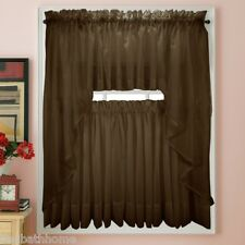 NEW - Stylemaster Elegance Voile CHOCOLATE Sheer Curtain