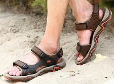 Mens open toe outdoor leather sport beach sandals flat casual summer shoes