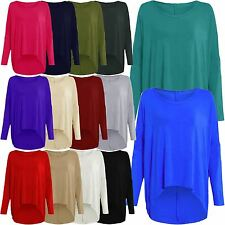 New Ladies Plus Size Off Shoulder Baggy High Low Asymmetric Tunic Tops 8-22