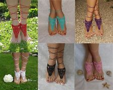 Crochet Sexy Barefoot Beach Sandals Anklet Wedding Yoga Shoes Hand Foot Jewelry
