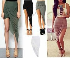 Womens ladies summer wrapped Asymmetrical Drape RUCHED IRREGULAR SKIRT Lot D1