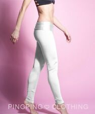 Satin White Shiny Spandex Leggings High Waisted Nylon Tricot Yoga Fashion Pants