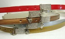 Woman Skinny Belt Heart Charm Rhinestone Buckle  Red Silver Bronze White NEW