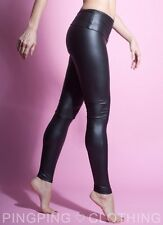 Rubberized Matt Black Spandex Leggings High Waisted Pants Fashion