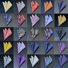"42 Colors 10"" Men Handkerchief Silk Pocket Square Paisley Floral Hanky Wedding"