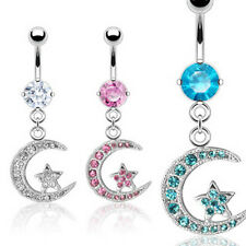 One Surgical Steel CZ Gem Paved Crescent Moon Star Belly Button Navel Ring