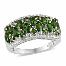 Russian CHROME DIOPSIDE , Diamond Cluster RING in Plat / Sterling Silver 2.68 Ct