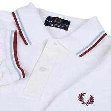 MEN'S NEW 1FRED 1PERRY TWIN TIPPED WHITE RED BLUE POLO SHIRT SIZE M L XL