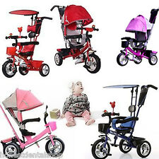 Kids Toddlers 4 In 1 Tricycle Bike Ride Trike with Handle Push Ride-On Toys
