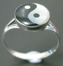 REAL 925 sterling silver rings pendants M O P ( Ying Yang ) Black and white