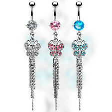 One Elegant Surgical Steel CZ Gem Paved Butterfly Dangle Belly Button Navel Ring