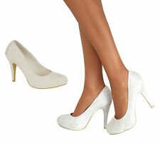 Ladies High Heel Ivory Court Shoes Evening Party Prom Bridal